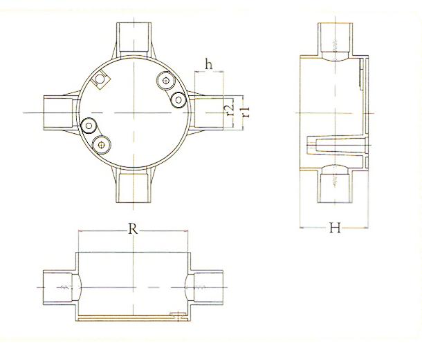 电工明装转角接线盒
